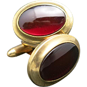 Vintage cufflinks Ruby red Glass Correct Quality Krementz