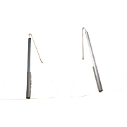 New Wave earrings Plastic Pierced Black and white dangles