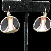 Laurel burch earrings Black enamel salmon pink pierced