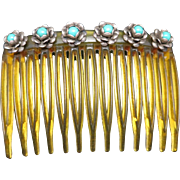 Sterling silver Hair comb turquoise glass flowers