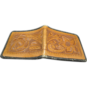 Leather Wallet Western Design Tooled Bi-fold Vintage Billfold