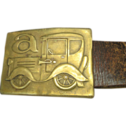 Bronze Belt Buckle Model A Hippie Belt Wide