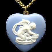 Wedgwood Heart pendant Blue Jasperware cupid