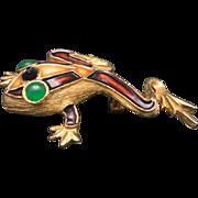 Frog Pin Gold tone metal Green eyes Kramer