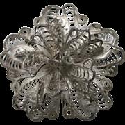 Filigree flower pin Handmade 800 silver wire