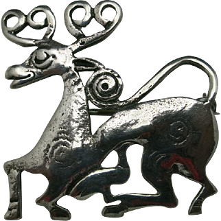 Parenti Deer Pin VIKING style sterling silver