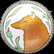 Dog pin very fine enamel work Sterling silver Spizt