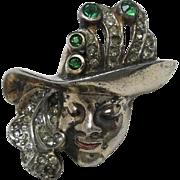 Sterling Pin Woman wearing HAT Rhinestones