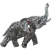 Elephant Pin Sterling silver Marcasite West Germany