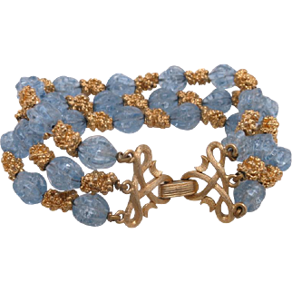 Trifari bracelet Nubby blue beads Gold tone three strand