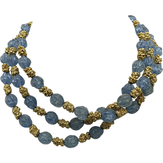 Trifari necklace triple strand Nubby blue beads Choker