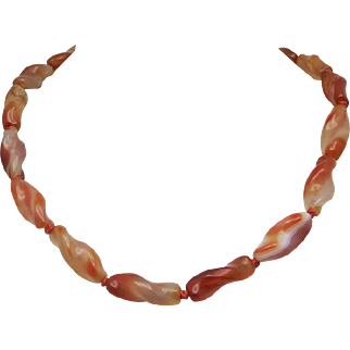 Agate bead necklace Carnelian twist beads COpper