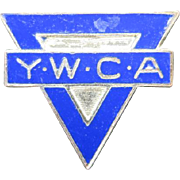 YWCA Pin Blue enamel Tiny lapel Attleboro