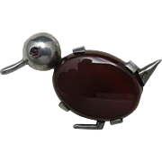 Charming duck PIN Sterling silver Carnelian stone