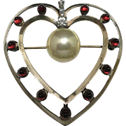 Large Sterling silver HEart PIN MAZER