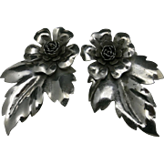 Flower PINS Sterling silver Matched Pair Beautiful