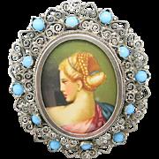Miniature portrait Handpainted 800 SILVER Italian