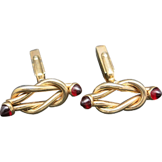 Art Deco Cufflinks Gold filled KNOTS Red stone