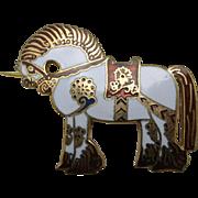 Horse PIN White Enamel RED Chinese Asian Japanese