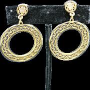 Hoop earrings Vintage Sixties Filigree Clip On DOor Knocker