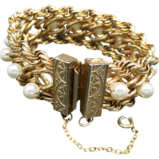 HOBE Bracelet Gold tone Chains Fake pearls