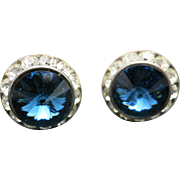 Rivoli Cufflinks Fancy rhinestones Blue and clear