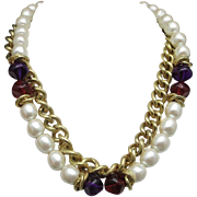 Classy necklace Fake Pearl CHain GOld tone RED Purple