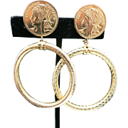 French coin Earrings Gold tone Clip BIG HOOPS
