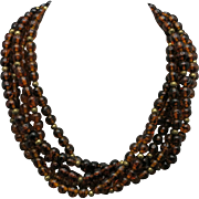 Kenneth Lane necklace Amber glass Torsade