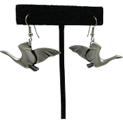 Crane earrings Birds Pewter Pierced North west Kar Bos