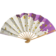 Hand Fan Paper Bamboo Japanese Gold foil