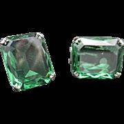 Green Rhinestone earrings Large Solitaire stones