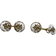 Rock crystal cufflinks Monogram H Art Deco Gold plated