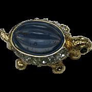Rhinestone Turtle Pin Small blue glass cabochon