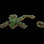 Frog pin Vintage shiny peridot rhinestones