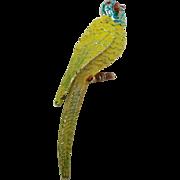 Yellow Parakeet bird pin vintage Bird brooch