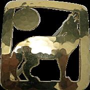 Howling wolf pin brass Handmade wild bryde