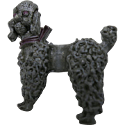 Standard poodle PIN Grey Enamel VIntage 1960