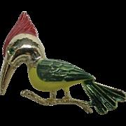 Woodpecker pin Bird Brooch Vintage Costume jewelry