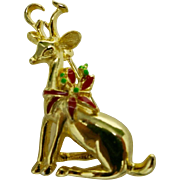 Reindeer pin Small goldtone Christmas Holiday brooch