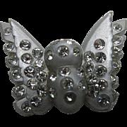 Butterfly pin Vintage Silver tone Plastic Rhinestones