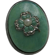 Clover clip Green enamel Fake pearls