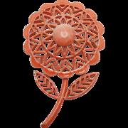 Flower power pin Coral enamel vintage seventies