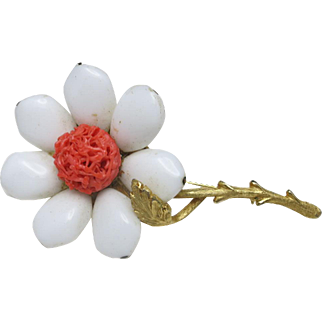 Fantastic Flower Power Pin Glass White and Coral