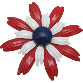 Flower power pin RED white Blue and Summery
