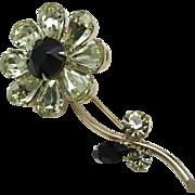 Weiss rhinestone Flower PIN Black Yellow peridot