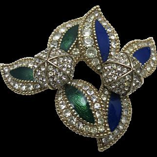 Ciner Pin Blue Green Enamel Pave rhinestone Real Look