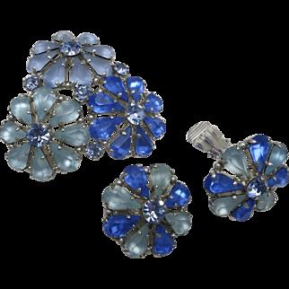 Beautiful Blue Rhinestone Pin earrings Flower shaped