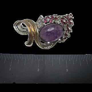 Beautiful Rhinestone Pin Large Purple stone
