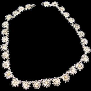 Daisy flower necklace Filigree Choker sterling silver brass centers